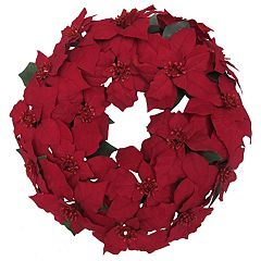 St. Nicholas Square® Indoor Artificial Poinsettia Christmas Wreath