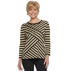 Women's Alfred Dunner Studio Diagonal Striped Lurex Sweater
