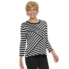 Women's Alfred Dunner Studio Diagonal Striped Lurex Sweater