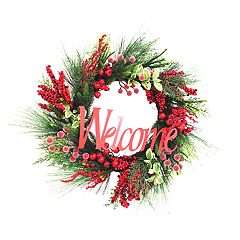 St. Nicholas Square® Indoor Artificial 'Welcome' Christmas Wreath