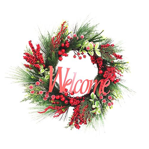 """St. Nicholas Square® Indoor Artificial """"Welcome"""" Christmas Wreath"""