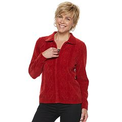 Women's Alfred Dunner Studio Cable-Knit Chenille Zip-Front Sweater