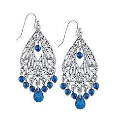 1928 Blue Bead Chandelier Drop Earrings