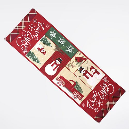St. Nicholas Square® Patchwork Snowman Table Runner - 36""