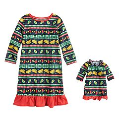 Toddler Girl Jammies For Your Families Holiday Taco Party Fairisle Nightgown & Doll Gown Pajama Set