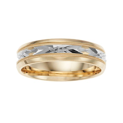 14k Gold Beveled Engraved Inlay Wedding Band