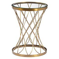 Pulaski Concave Brass Finish End Table