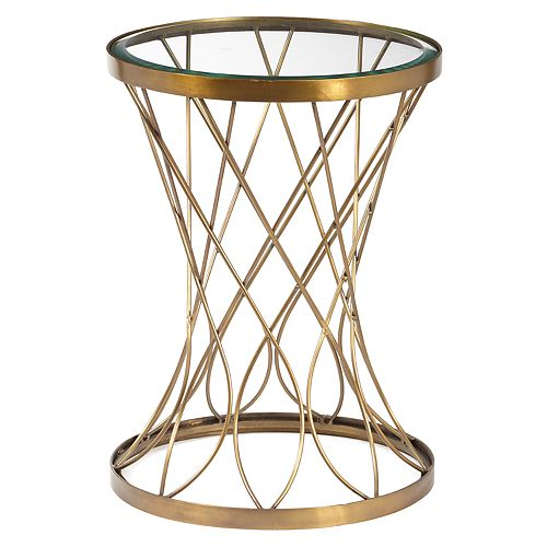 Pulaski Concave Brass Finish End Table
