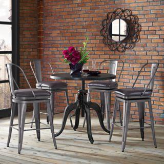 Pulaski Industrial Adjustable Crank Dining Table