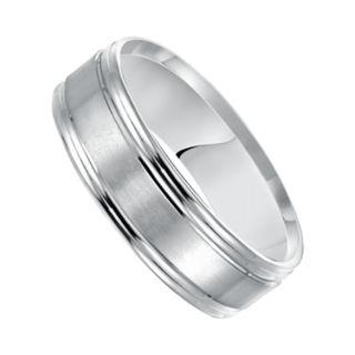 Men's 14k White Gold Satin Band Wedding Ring