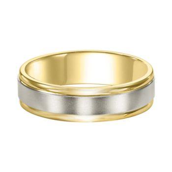 Men's Two Tone 14k Gold Satin Band Wedding Ring