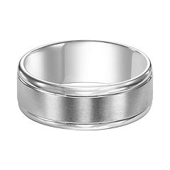 Men's 14k White Gold Brushed Band Wedding Ring