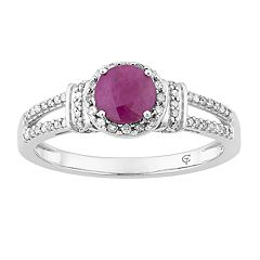 10k White Gold Ruby & 1/5 Carat T.W. Diamond Split Shank Ring