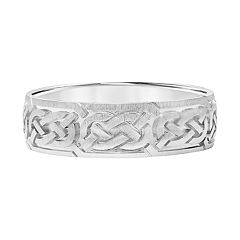 Men's 14k White Gold Knot Wedding Band