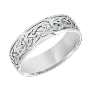Men's 14k White Gold Knot Wedding Band