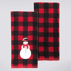 St. Nicholas Square® Snowman Buffalo Check Kitchen Towel 2-pack