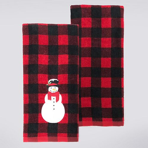 St. Nicholas Square® Snowman Buffalo Check Kitchen Towel 2-pack