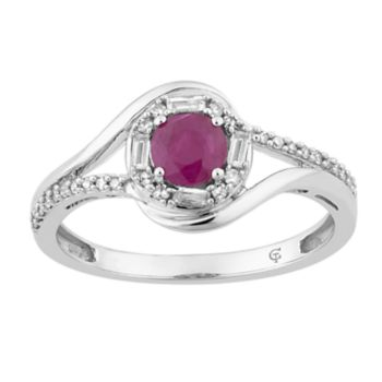 10k White Gold Ruby & 1/5 Carat T.W. Diamond Halo Ring