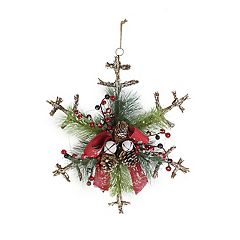 St. Nicholas Square® Artificial Pine Rustic Snowflake Wall Decor