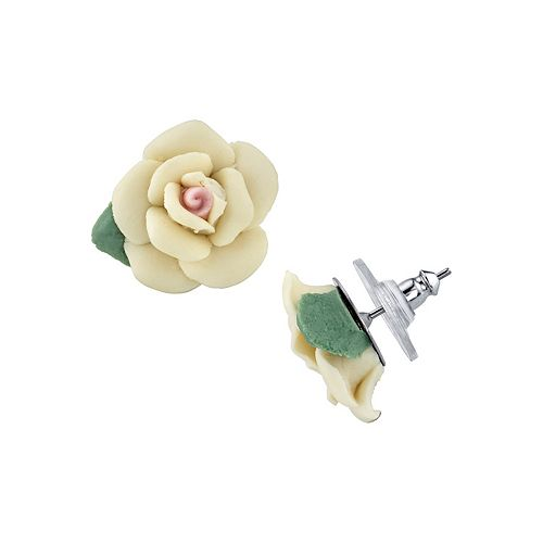 1928 Porcelain Rose Stud Earrings