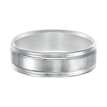 Men's 14k White Gold Double Channel Wedding Band