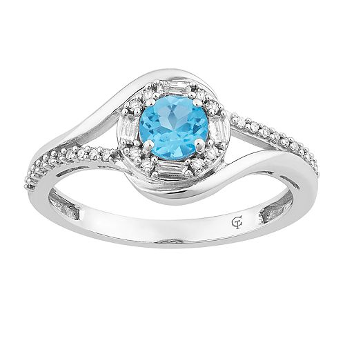 10k White Gold Swiss Blue Topaz & 1/5 Carat T.W. Diamond Halo Ring