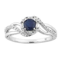 10k White Gold Sapphire & 1/4 Carat T.W. Diamond Swirl Ring
