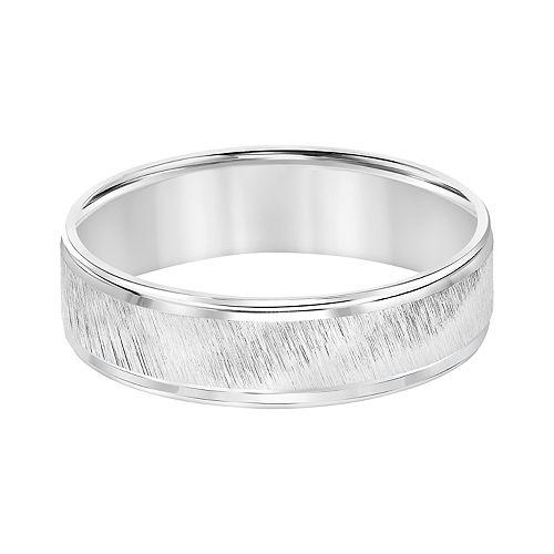 Men's 14k White Gold Diagonal Brushed Wedding Band