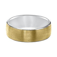 Men's Two Tone 14k Gold Satin Wedding Band