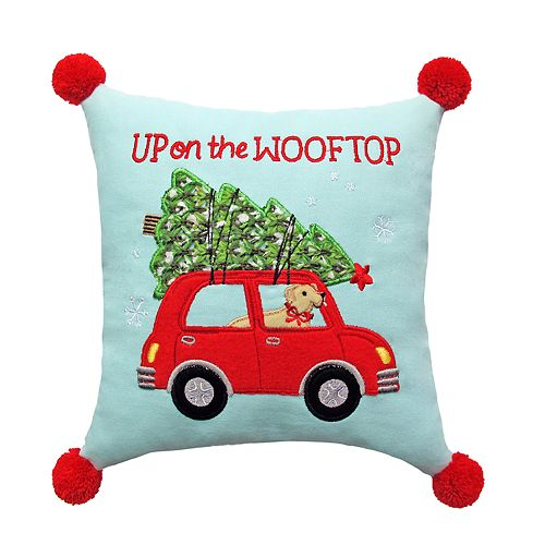 """St. Nicholas Square® """"Up On The Wooftop"""" Mini Throw Pillow"""
