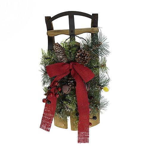 St. Nicholas Square® Light-Up Artificial Pine Sled Wall Decor