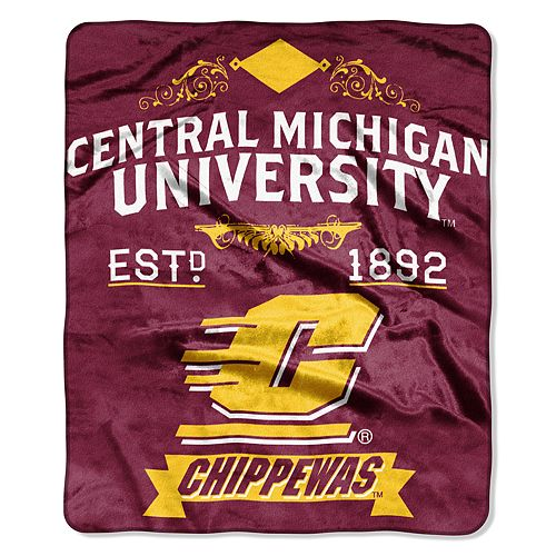 Central Michigan Chippewas Label Raschel Throw by Northwest