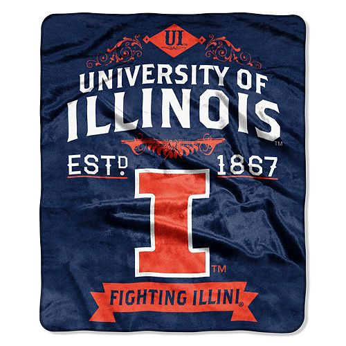 Illinois Fighting Illini Label Raschel Throw by Northwest