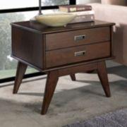 Simpli Home Draper 2-Drawer Mid-Century End Table