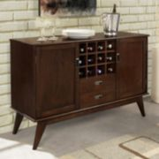 Simpli Home Draper Mid Century Sideboard Buffet Table & Wine Rack