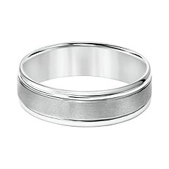 Men's 14k White Gold Brushed Stripe Wedding Band