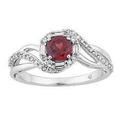 10k White Gold Garnet & 1/4 Carat T.W. Diamond Swirl Ring