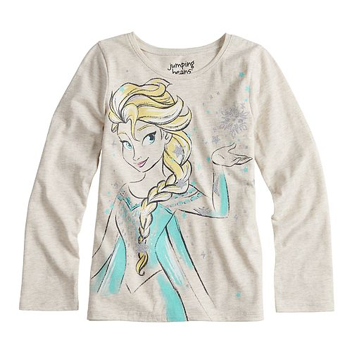 Disney's Frozen Elsa Girls 4-10 Glittery Graphic Long-Sleeve Tee by Jumping Beans®