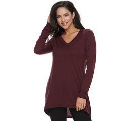 Petite Apt. 9® High-Low V-Neck Tunic Sweater