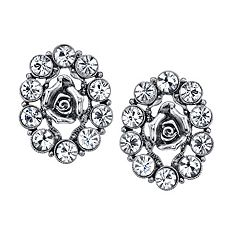 1928 Simulated Crystal Rose Button Earrings
