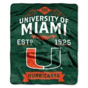Miami Hurricanes Label Raschel Throw by Northwest