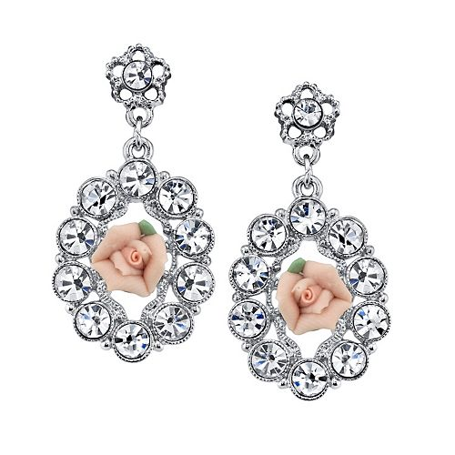 1928 Pink Porcelain Rose & Simulated Crystal Drop Earrings