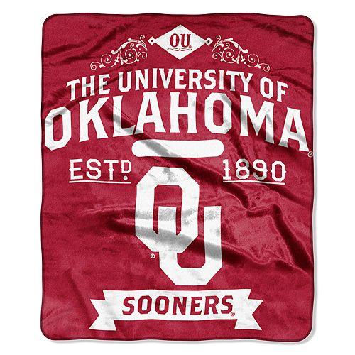 Oklahoma Sooners Label Raschel Throw by Northwest