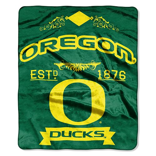 Oregon Ducks Label Raschel Throw by Northwest