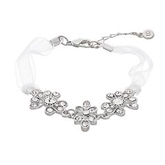 LC Lauren Conrad Simulated Crystal & White Ribbon Bracelet