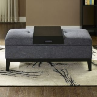 Simpli Home Oregon 2-piece Storage Ottoman and Tray Set