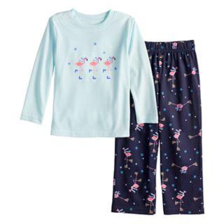 Toddler Jammies For Your Families Skating Flamingos Top & Bottoms Pajama Set