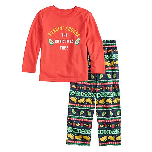 """Toddler Jammies For Your Families """"Guacin' Around the Christmas Tree"""" Top & Holiday Taco Party Fairisle Bottoms Set"""