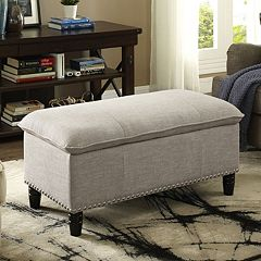 Simpli Home Pillow Top Faux-Linen Storage Ottoman
