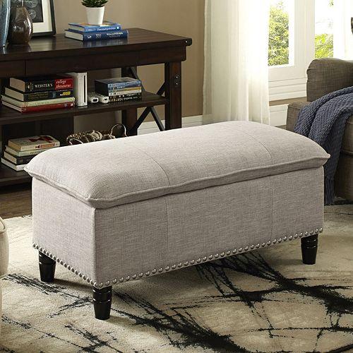Simpli Home Pillow Top Faux-Linen Storage Ottoman
